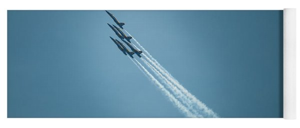 Yoga Mat featuring the photograph Blue Angel Rockets by Mark Duehmig