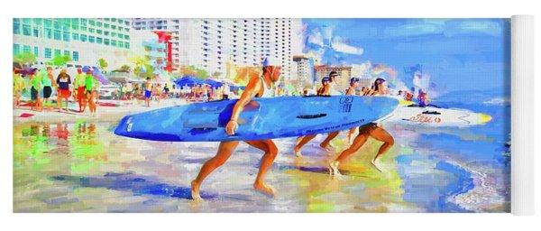 Blue Board Fast Into Ocean Yoga Mat