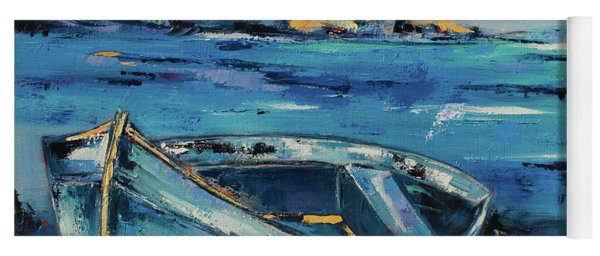 Blue Boat On The Mediterranean Beach Yoga Mat