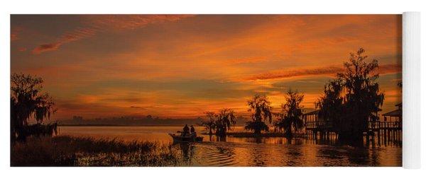 Blue Cypress Sunrise With Boat Yoga Mat