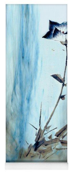 Blue Flower Abstract Yoga Mat