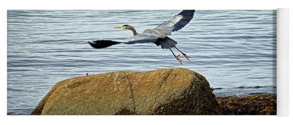 Blue Heron In Flight Yoga Mat