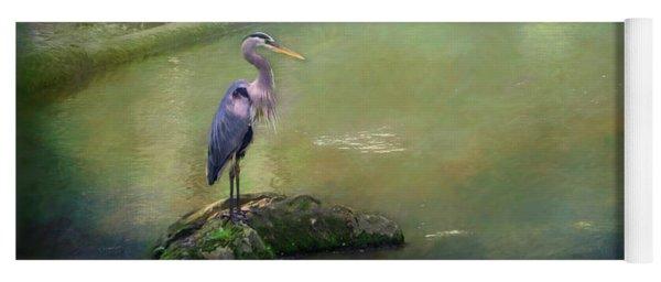 Blue Heron Isolated Yoga Mat