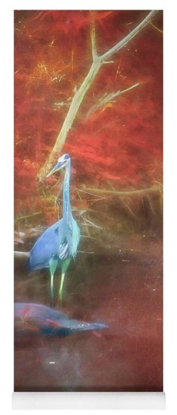 Blue Heron Red Background Yoga Mat