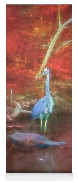 Blue Heron Red Background Yoga Mat