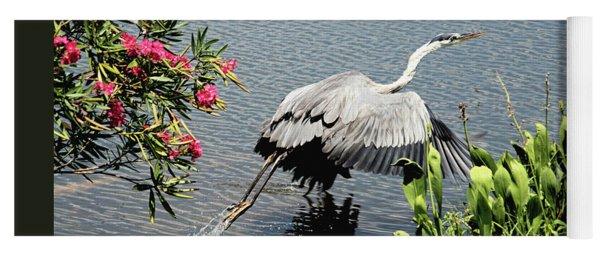 Blue Heron Take Off Yoga Mat