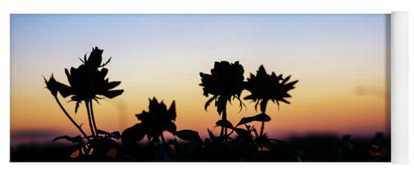 Blue Hour Sunset With Flowers Yoga Mat