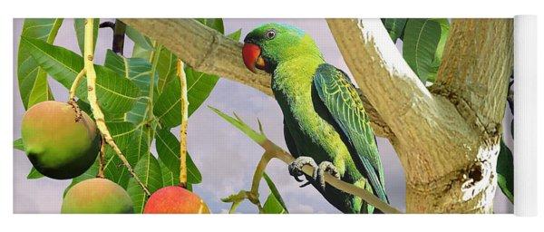 Blue-naped Parrot In Mango Tree Yoga Mat