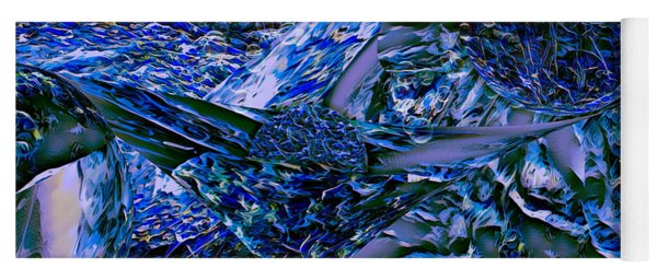 Yoga Mat featuring the digital art Blue Nightmare by Mike Braun