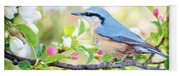 Blue Orange Bird Yoga Mat