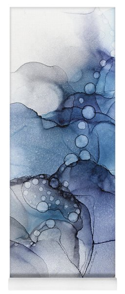 Blue Petal Dots Whispy Abstract Painting Yoga Mat