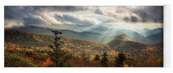 Blue Ridge Mountains Asheville Nc Scenic Autumn Landscape Photography Yoga Mat