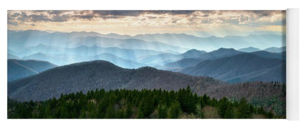 Blue Ridge Mountains Asheville Nc Scenic Light Rays Landscape Photography Yoga Mat