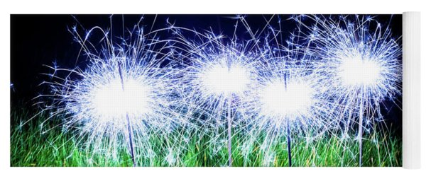 Yoga Mat featuring the photograph Blue Sparklers In The Grass by Scott Lyons
