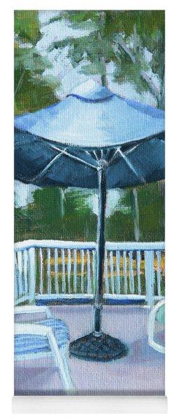Blue Umbrella On The Deck Yoga Mat