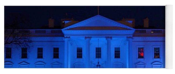 Blue White House Yoga Mat