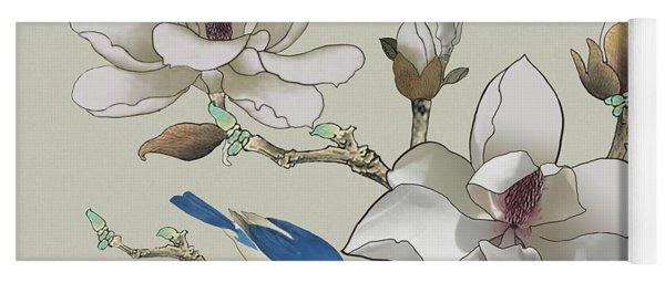 Bluebird And Magnolia Yoga Mat
