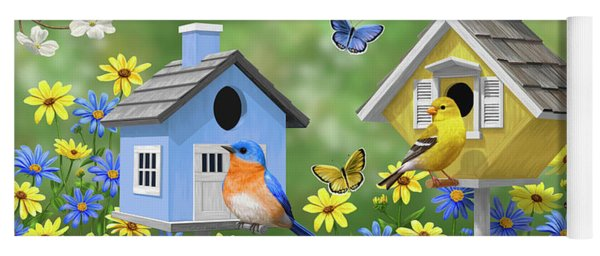 Bluebirds Goldfinches Chickadees Birdhouses Spring Flower Garden Yoga Mat