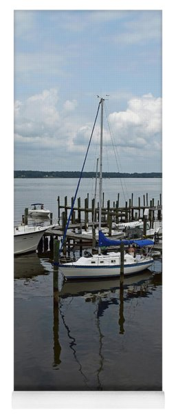 Boat In Harbor Yoga Mat