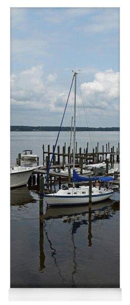 Boat In Harbor Yoga Mat