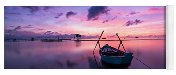 Boat Under The Sunset Yoga Mat