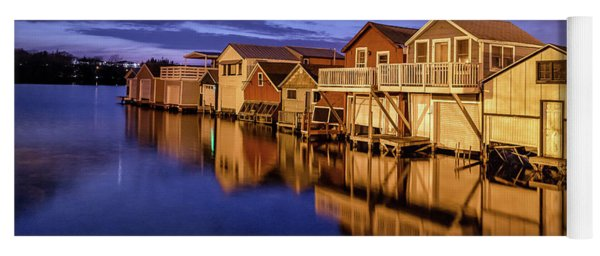 Boathouse Reflections At Night Yoga Mat