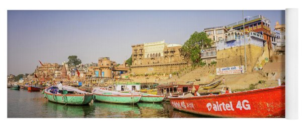 Boats On The Ganges Yoga Mat