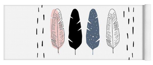 Boho Feathers - Boho Chic Ethnic Nursery Art Poster Print Yoga Mat