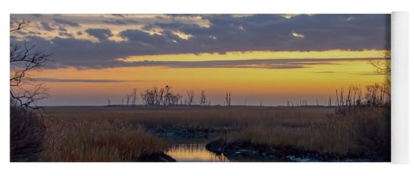 Yoga Mat featuring the photograph Bombay Hook Dawn's Early Light by Kristia Adams