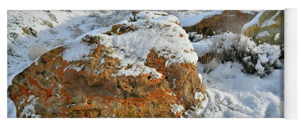 Book Cliffs Boulders And Fresh Snow Yoga Mat