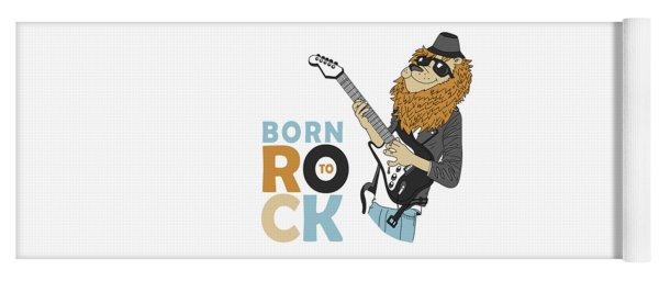 Born To Rock - Baby Room Nursery Art Poster Print Yoga Mat