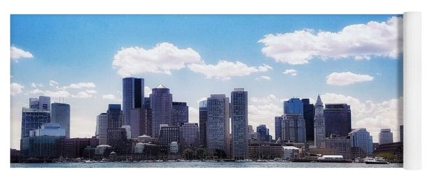 Boston Skyline From Boston Harbor  Yoga Mat