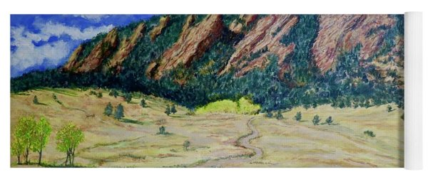 Yoga Mat featuring the painting Flatirons Boulder Colorado by Tom Roderick