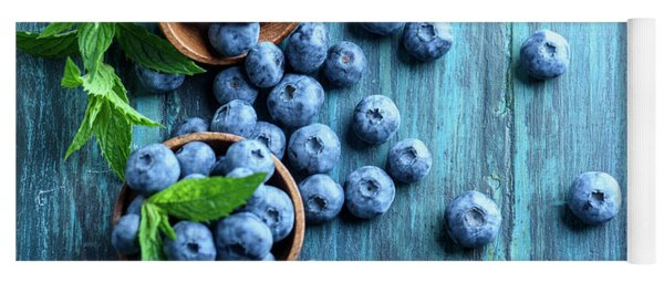 Bowl Of Fresh Blueberries On Blue Rustic Wooden Table From Above Yoga Mat