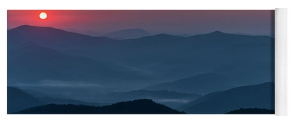 Yoga Mat featuring the photograph Brasstop Bald Sunrise Panorama by Andy Crawford