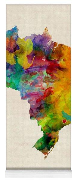 Brazil Watercolor Map Custom Heart Yoga Mat