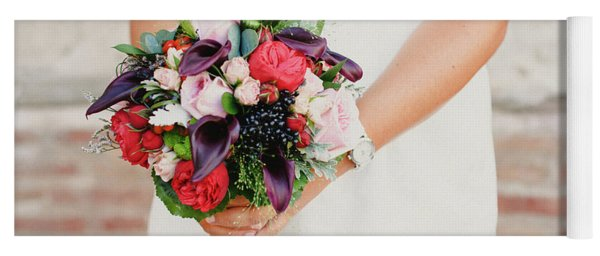 Bridal Bouquet Held By Her With Her Hands At Her Wedding Yoga Mat