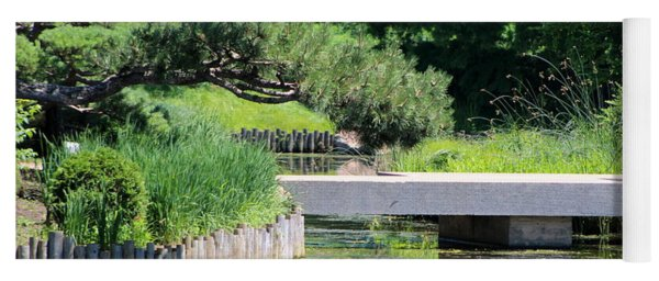 Bridge Over Pond In Japanese Garden Yoga Mat