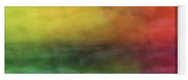 Bright Abstract Blurred Color Blocks Of Yellow, Orange, Red And Green Yoga Mat