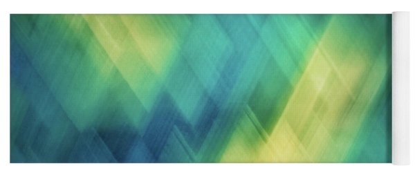 Bright Blue, Turquoise, Green And Yellow Blurred Diagonal And Diamond Shapes Yoga Mat