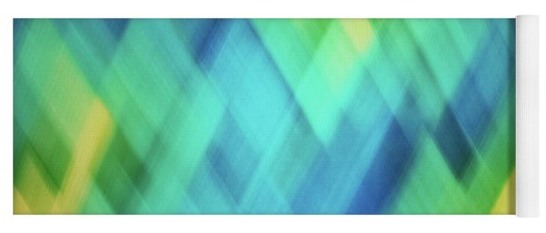 Bright Blue, Turquoise, Green And Yellow Blurred Diamond Pattern Abstract Yoga Mat