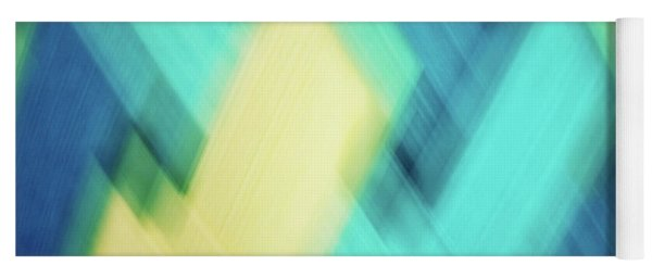 Bright Blue, Turquoise, Green And Yellow Blurred Diamond Shapes Abstract  Yoga Mat