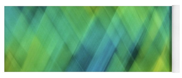 Bright Blue, Turquoise, Green And Yellow Blurred Diamond Shapes And Lines Abstract  Yoga Mat
