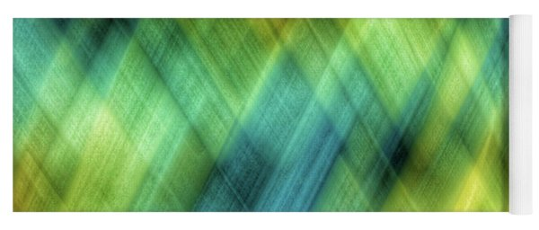 Bright Blue, Turquoise, Green And Yellow Blurred Diamond Shapes Yoga Mat