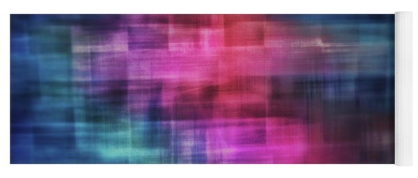 Bright Blurred Square Shapes Of Blue, Turquoise,  Pink, Purple And Orange Abstract Yoga Mat