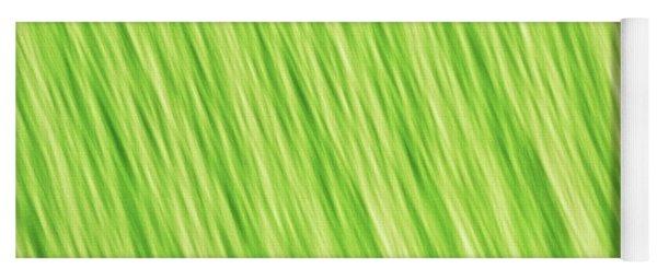 Bright Chartreuse Green Blurred Diagonal Lines Abstract Yoga Mat