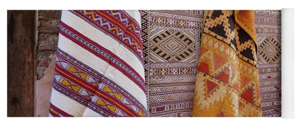 Bright Colored Patterns On Throw Rugs In The Medina Bazaar  Yoga Mat