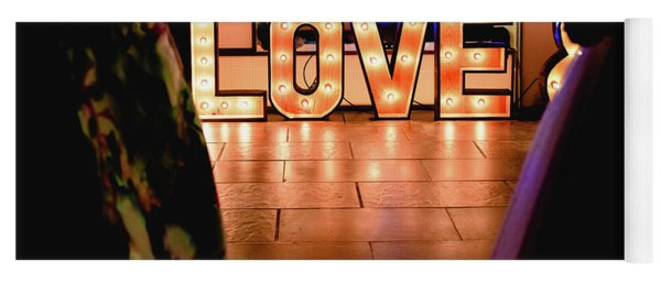 Bright Wooden Letters With Word Love In A Party Yoga Mat
