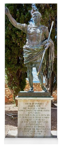 Yoga Mat featuring the photograph Bronze Copy Of Augustus Of Prima Porta Sculpture In Spain by Eduardo Jose Accorinti