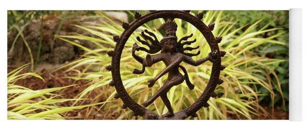 Bronze Shiva In Garden Yoga Mat